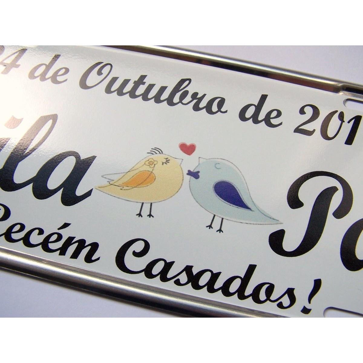 Placa de Carro Personalizada para Casamento - Noivos - Passarinhos
