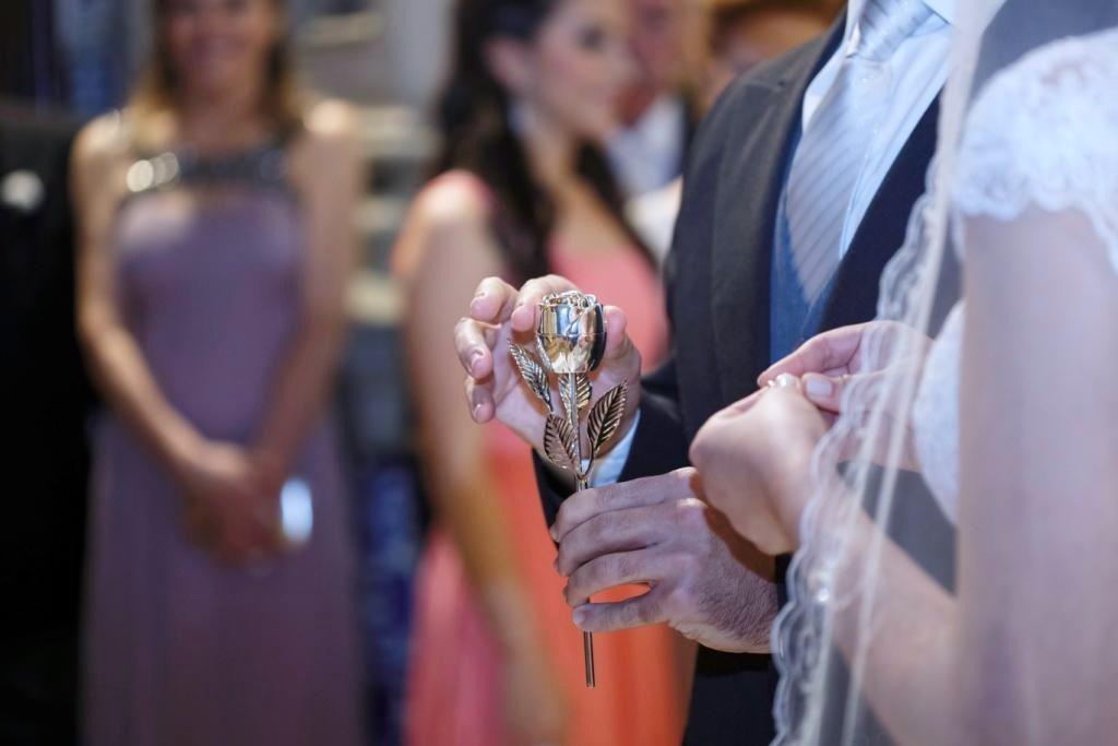 Porta-Alianças de Casamento - Rosa Prateada