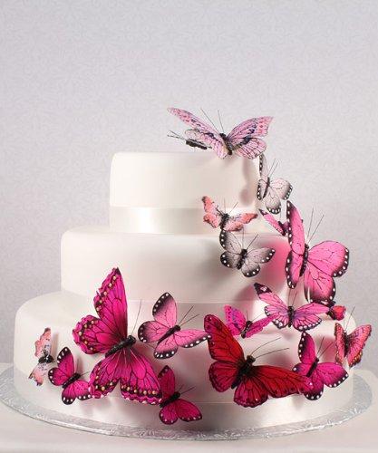 Decoração Bolo de Casamento - Borboletas Pink