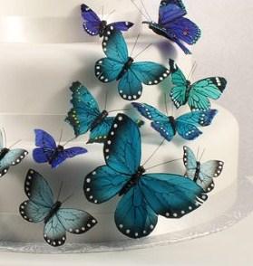 Decoração Bolo de Casamento - Borboletas Azul