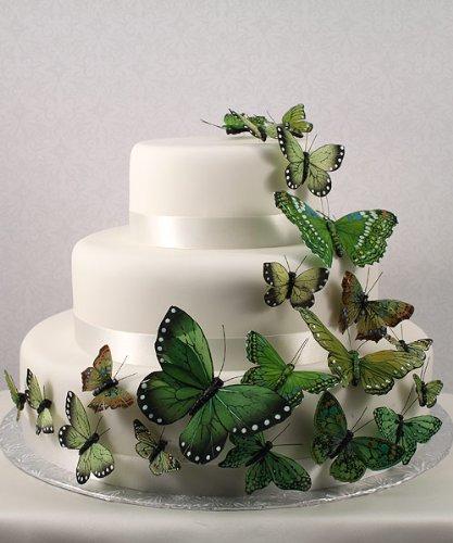 Decoração Bolo de Casamento - Borboletas Verdes