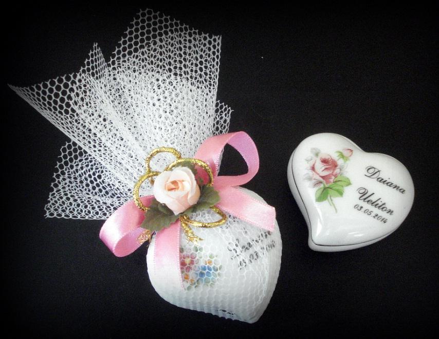 Porta-Jóias Porcelana Coração - Lembrança de Casamento