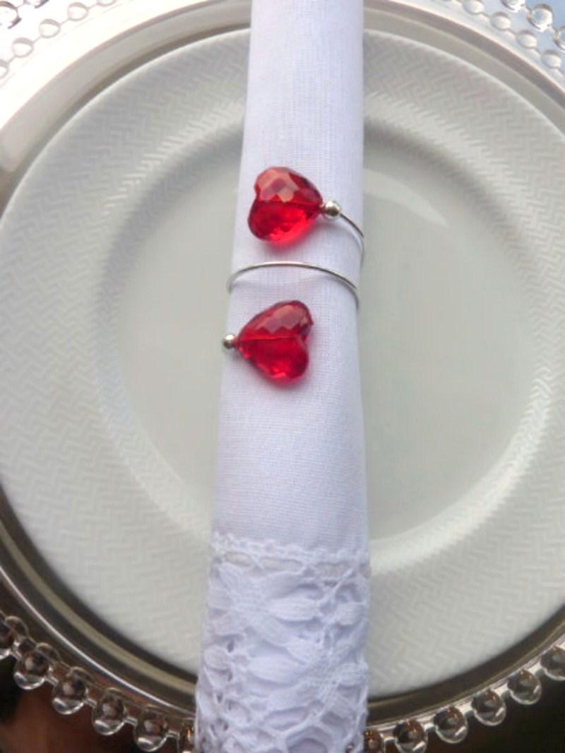 Porta-Guardanapos para casamento - Dois Corações Pink