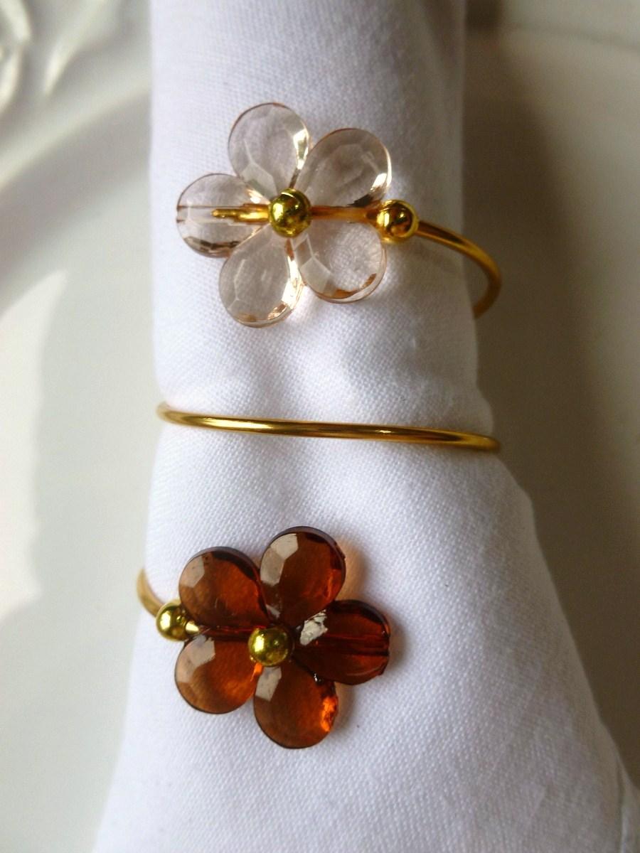 Porta-Guardanapo para casamento - Duas Flores Caramelo
