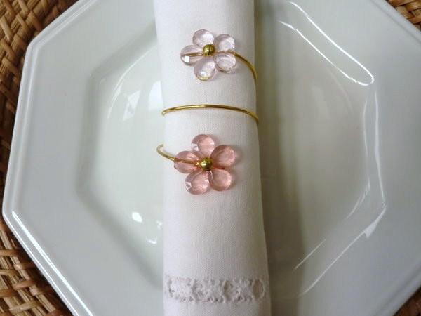 Porta-Guardanapo para casamento - Flores Rosa Cristal