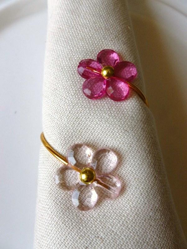 Porta-Guardanapo para casamento - Flores Harmonia Rosa Cristal