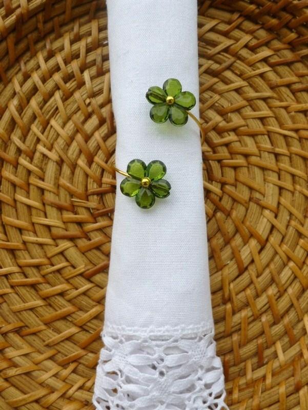 Porta-Guardanapo para casamento - Flores Harmonia Verdes