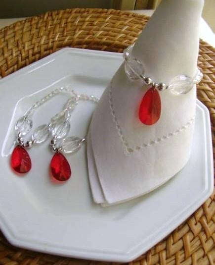 Porta-Guardanapo para casamento - Gota Vermelha