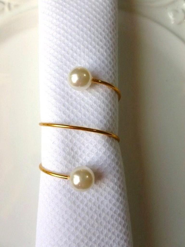 Porta-Guardanapo para casamento - 2 Pérolas ouro
