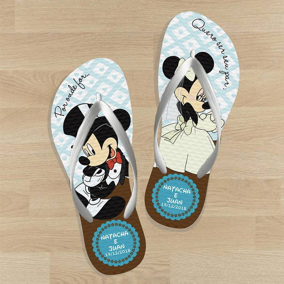 Chinelo para casamento- Personalizado Mickey e Minnie LE01