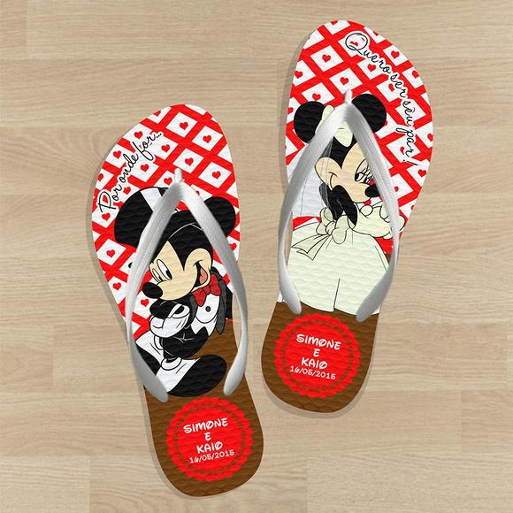 Chinelo para casamento - Personalizado Mickey e Minnie LE02