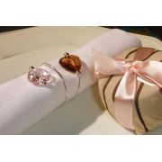 Porta-Guardanapos para casamento - Corações Rosado e Caramelo
