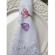 Porta-Guardanapos para casamento - Corações Lilás e Rosa