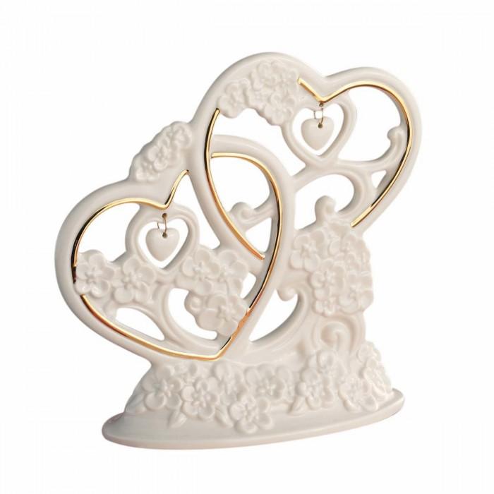 Topo para Bolo - Dois Corações em Porcelana