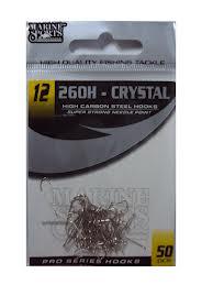Anzol Marine Sports Cristal 260H - 02 - 04 - 06 -08 - 10 - 12 - 14 - Pacotes com 50 unidades  - MGPesca