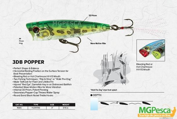 Isca artificial Yo-Zuri 3DB Popper 75 - R1101  - MGPesca
