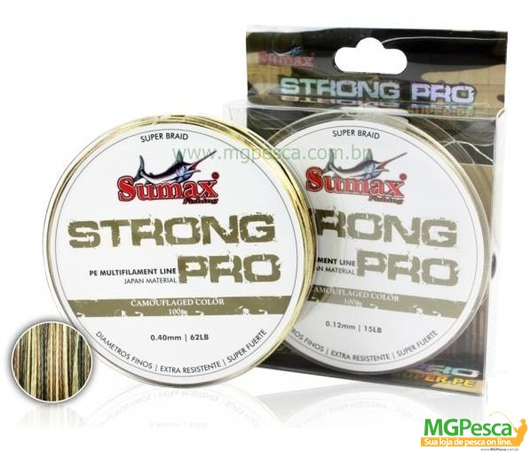 Linha Multifilamento Sumax Strong Pro 0,14mm - 17lbs - 100m  - MGPesca