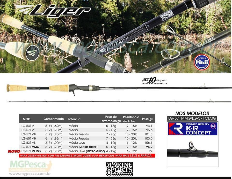 "Vara Marine Sports Liger 5´7"" (1,70m) 15Lbs - LG-571MMG - FUJI KR MICRO PASSADORES  - MGPesca"