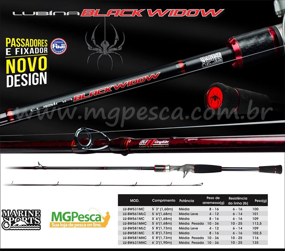 "Vara Marine Sports Lubina Black Widow 5�6"" (1,68m) 16lbs - LU-BW 561MC  - MGPesca"