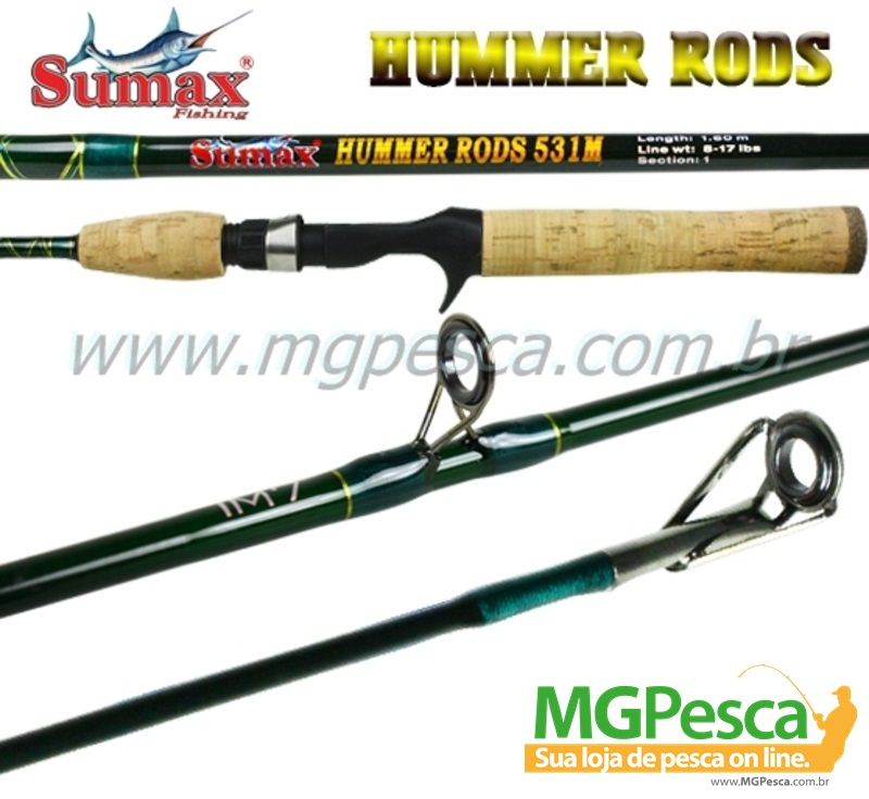"""Vara Sumax Hummer Rods 5´3"""" (1,60m) 17Lbs - 531M - para carretilha  - MGPesca"""