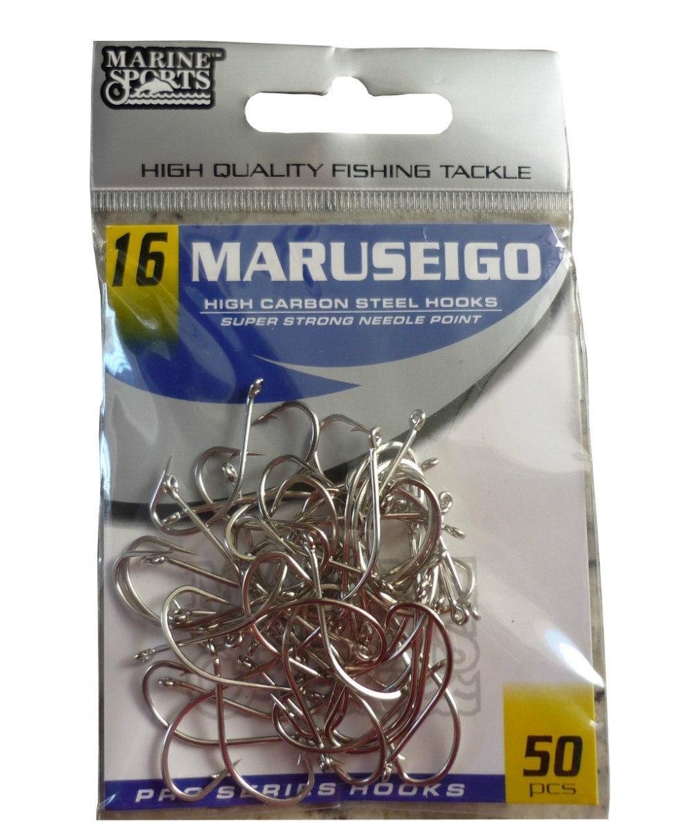 Anzol Marine Sports Maruseigo Nickel - 06 - 08 - 10 - 12 - 14 - 16 - 18 - Pacotes com 50 unidades  - MGPesca