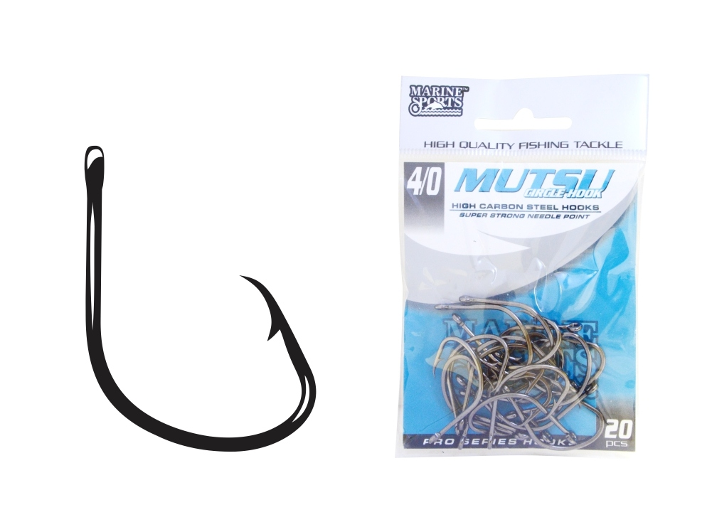 Anzol Marine Sports Mutsu Circle Hook - 1/0 - 2/0 - Pacotes com 30 unidades  - MGPesca