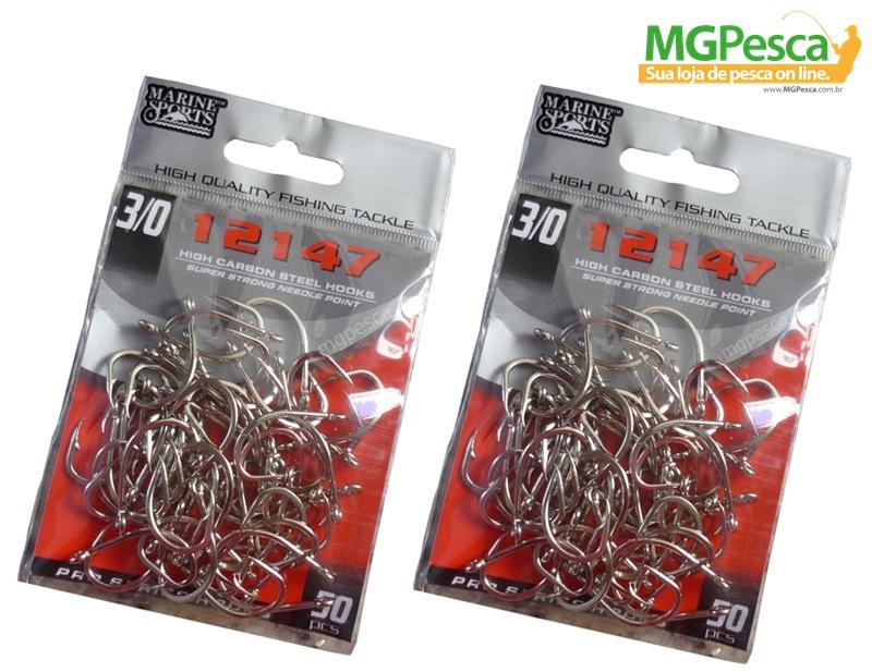 Anzol Marine Sports 12147 Nickel - 12 - 10 - 08 - 06 - 04 - 02 - 01 - 1/0 - 2/0 - 3/0 - 4/0 - Pacotes com 50 unidades  - MGPesca