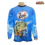 Camiseta Esportiva Zagaia Lures Dry Fit Azul Tucunaré