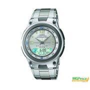 Relógio Casio Fishing gear - PESCA E FASES DA LUA - Pulseira de aço com mostrador prata - AW-82D