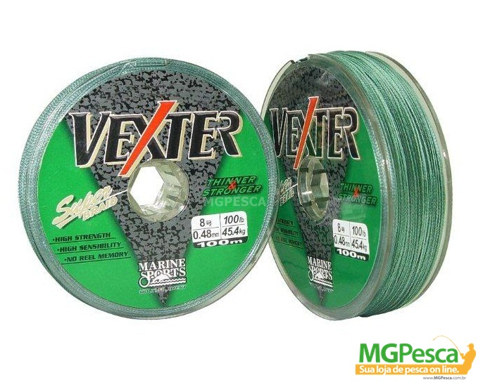 Linha Multifilamento Dyneema Vexter 100m - Marine Sports 0,29mm - 40LB  - MGPesca