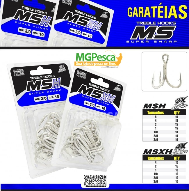 Garatéia Marine Sports MSH Super Sharp - 3X  - MGPesca