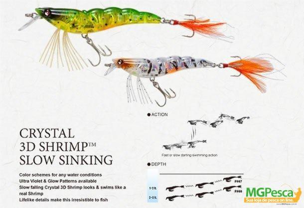 Isca Artificial Yo-Zuri Crystal 3D Shrimp (SS) 90 - F988  - MGPesca