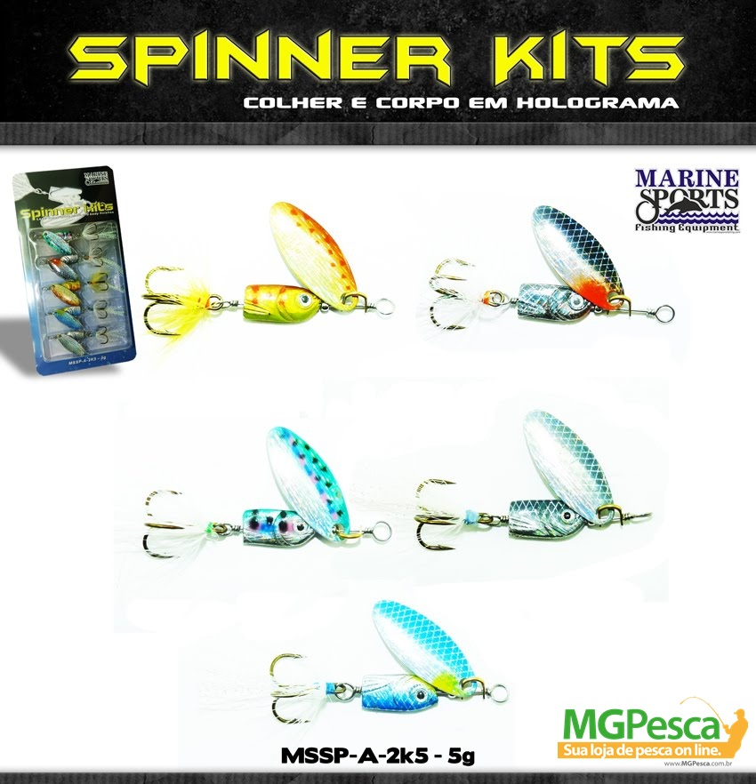 Isca Artificial Marine Sports Spinner Kit MSSP-A-2K5 - 5g - 05 unidades  - MGPesca