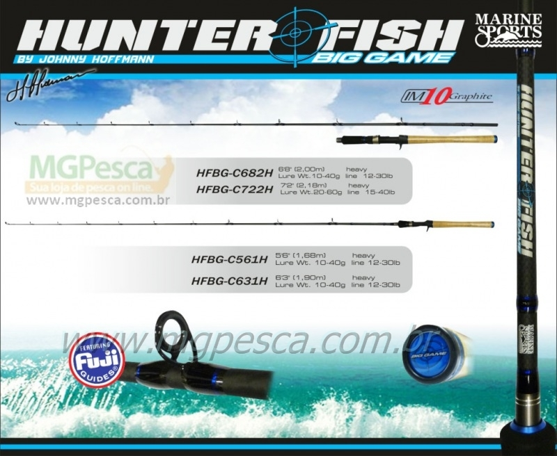 "Vara Marine Sports Hunter Fish Big Game 6"" (1,83m) 30lbs - HFBG-C601H  - MGPesca"
