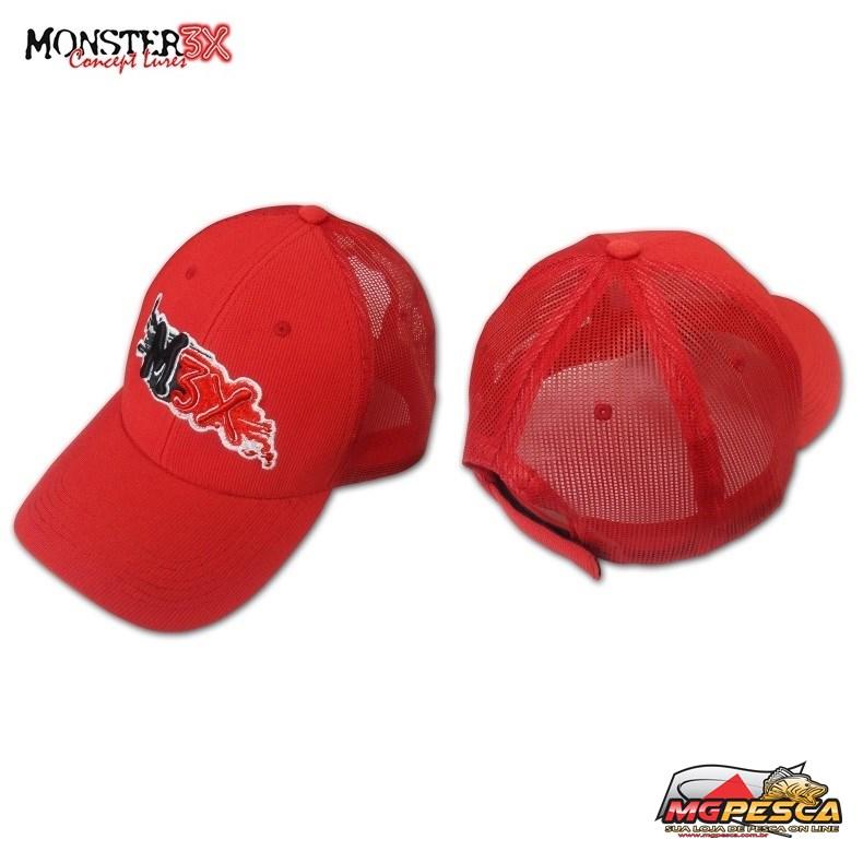 Boné Monster 3X FIT - Regulável - Preto - Vermelho - Cinza  - MGPesca