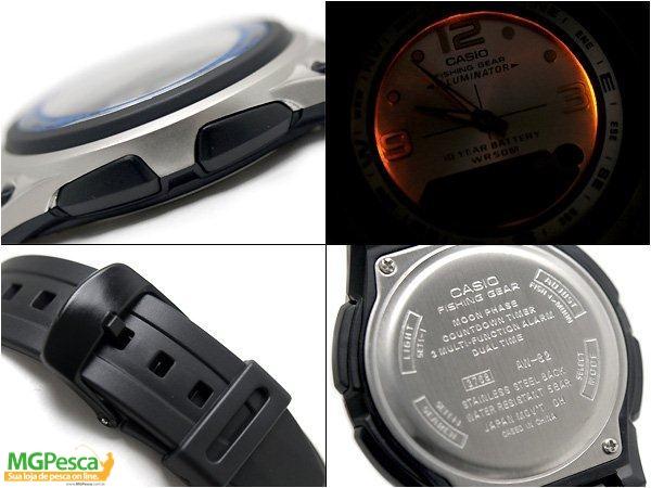 Relógio Casio Fishing Gear - Pesca E Fases Da Lua - Pulseira de borracha fundo prata - AW-82  - MGPesca