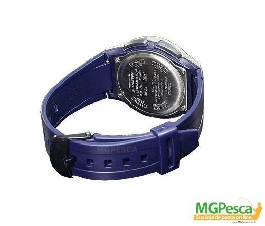 Relógio Casio Fishing Gear - Pesca E Fases Da Lua - Pulseira de borracha fundo azul - AW-82  - MGPesca