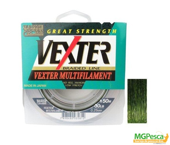 Linha Multifilamento Vexter X4 - 20LB - 0,19mm - 150m Verde Marine Sports  - MGPesca
