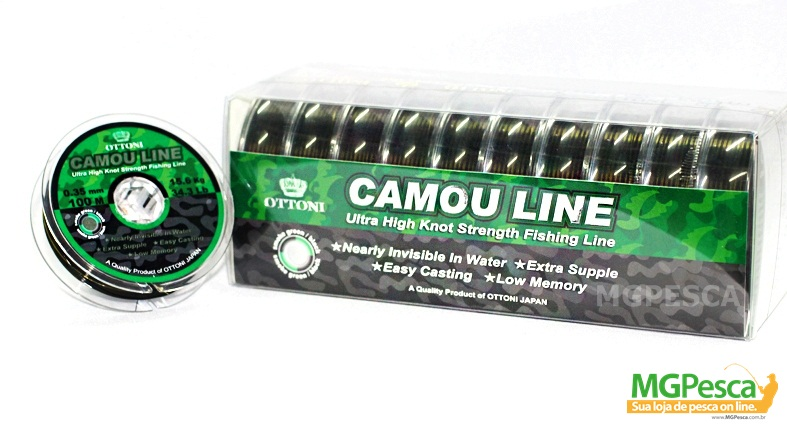 Linha Camou Line 100m  - 0,30mm - 26,8lb - Ottoni  - MGPesca