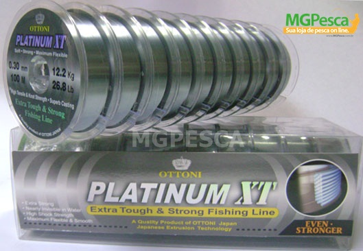 Linha Platinum xt 100m - 0,25mm - 19,8lbs - Ottoni  - MGPesca