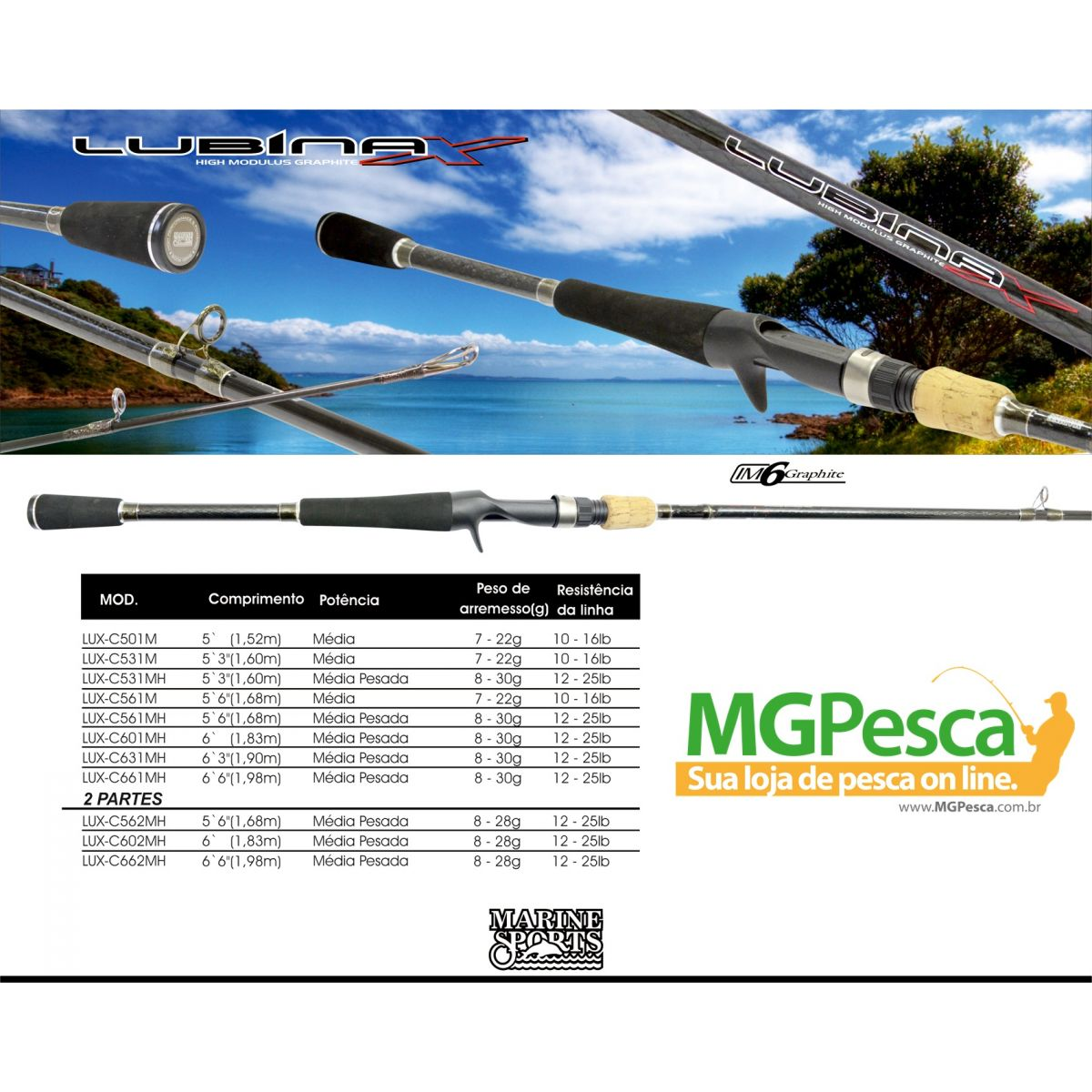 "Vara para carretilha Marine Sports Lubina X 5´6"" (1,68m) 16 Lbs - LUX-C561M  - MGPesca"
