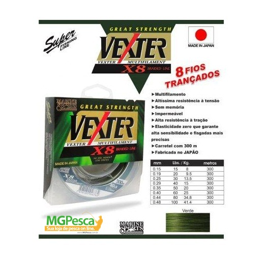 Linha Multifilamento Vexter X8 Verde 20lbs - 0,19mm - 300m - Marine Sports  - MGPesca