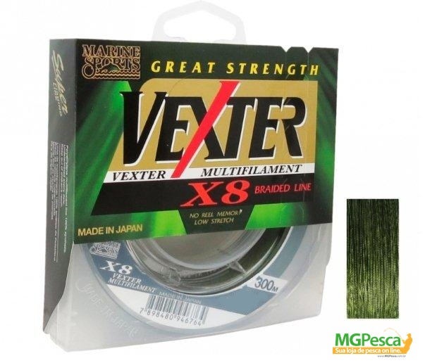 Linha Multifilamento Vexter X8 Verde 40lbs - 0,29mm - 300m - Marine Sports  - MGPesca