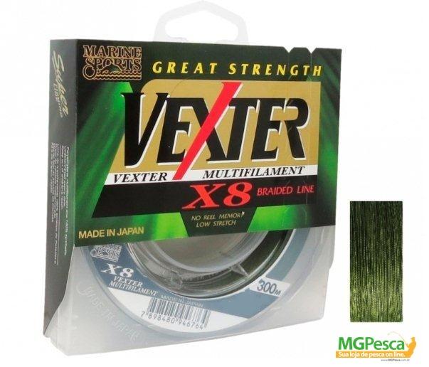 Linha Multifilamento Vexter X8 Verde 80lbs - 0,44mm - 300m - Marine Sports  - MGPesca