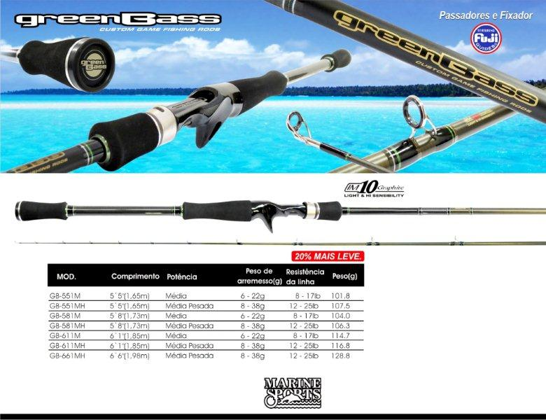 """Vara Marine Sports Green Bass 5´5"""" (1,65m) 17lbs - GB-551M  - MGPesca"""