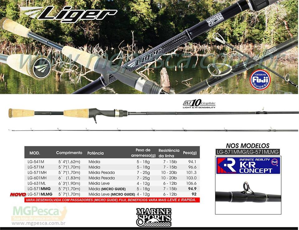 "Vara para carretilha Marine Sports Liger 6"" (1,83m) 20 Lbs - LG-601MH  - MGPesca"