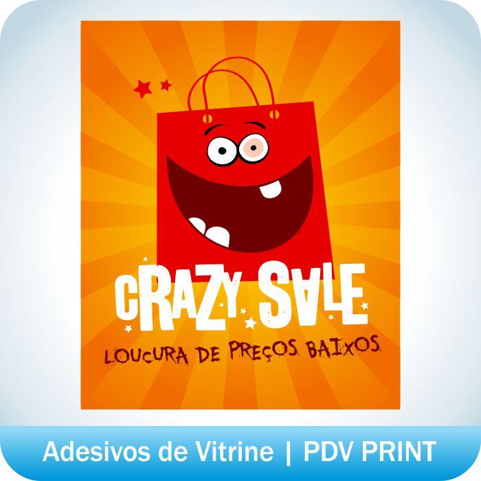 Aparador Quarto De Bebe ~ Adesivo de Vitrine Crazy Sale PDV PRINT