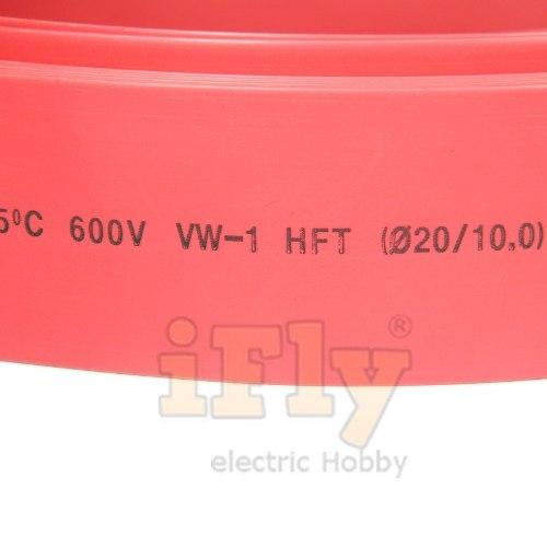 Termo Retrátil 20mm / 2:1 Vermelho - 1 Metro  - iFly Electric Hobby