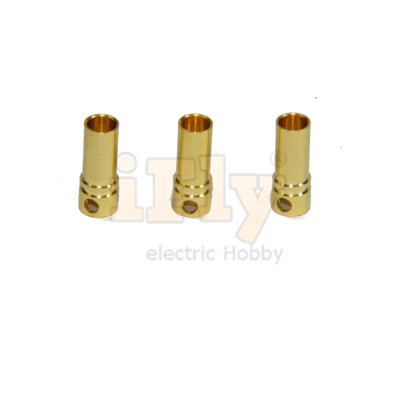 Conector Plug Gold Bullet Banana 3.5 mm Fêmea - 03 unidades (Ref. PCB35)  - iFly Electric Hobby