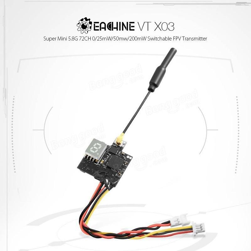 Micro Transmissor de FPV Eachine VTX03 72 Canais 25mW / 50mW / 200mW Apenas 3g  - iFly Electric Hobby